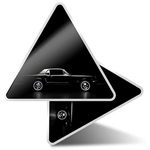 2 pegatinas triangulares de 10 cm, color negro Mustang Retro Car Fun Calcomanías para ordenadores portátiles, tabletas, equipajes, reservas, neveras #3502