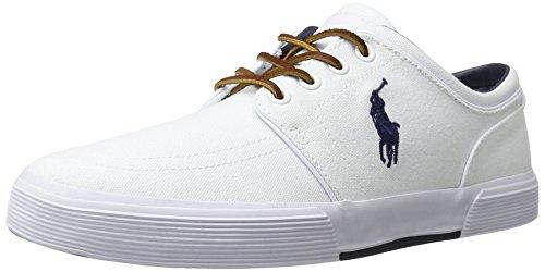 Polo Ralph Lauren Men's Faxon SK VLC Sneaker, Pure White, 9 D US