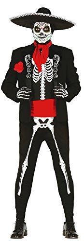 Fancy Me Herren Smart Skelett Tag der Toten Mexikanisch Halloween Bräutigam Kostüm Kleid Outfit - Schwarz, Medium