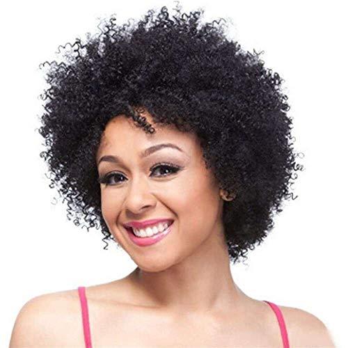 Yuyanshop Corto negro rizado pelucas humanas mujeres cabello humano rizado Pelucas no encaje Glueless peluca con flequillo parte lateral Pelucas (negro)