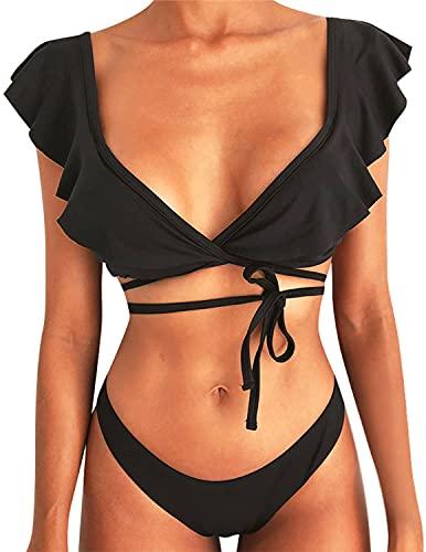 UMIPUBO Sexy Bikini Set con Design del Cinturino, Tinta Unita Costume da Bagno, Bikini con Stampa Floreale da Donna, Due Pezzi Costume da Bagno per Piaggia, Piscina