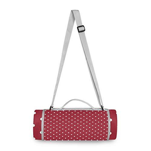 LUPINZ Picknick- und Outdoordecke weiß gepunktet roter Hintergrund Muster Strandmatte für wasserfeste handliche Matte Tragetasche ideal für Outdoor Strand Wandern Camping auf Gras wasserdicht sandfest