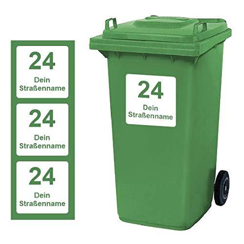 Mülltonnen Aufkleber personalisierbar 3 Stück Schilder Größe 20 cm x 20 cm