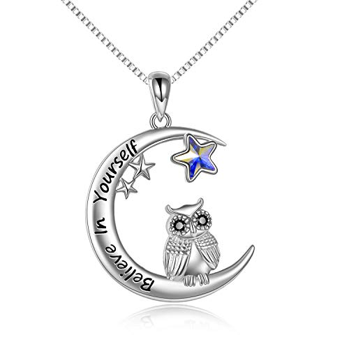 Owl Gifts, 925 Sterling Silver Moon Necklace with Blue Star Crystal, Birthday Gifts for Women Girls - Believe In Yourself