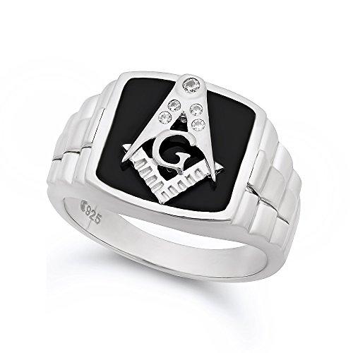 Large 22mm Two-Tone Sterling Silver Italian Crafted & Black Freemason Logo CZ Ring, Size 11 + Bonus Cloth