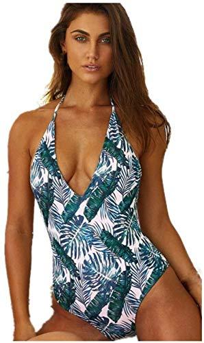Vrouwen zwempak uit één stuk Hangende nek Print Badmode Backless V-vormige bikini badpak, Maat: L, Kleur: Groen (Color : Green, Size : M)