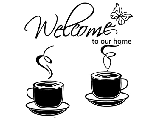 Fototapete Englische Willkommen Kaffeetasse Wandaufkleber Wohnzimmer Café Balkon Restaurant Home Decoration Aufkleber