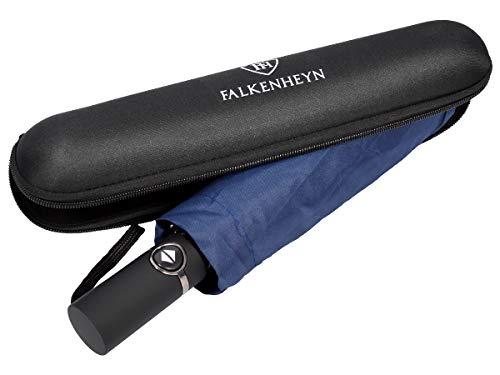 Falkenheyn Regenschirm Sturmfest Taschenschirm mit voll-automatischer Auf Zu Automatik Windfest (REG-01 Marine)
