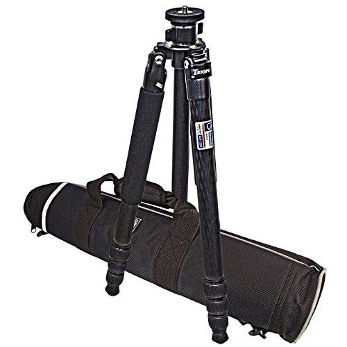 Dreibein Reisestativ Kamerastativ CARBON (Hoehe: 162 cm, Gewicht: 1,50 kg, Belastbarkeit: 13kg) schwarz | Stativ Triopo GX-1328 – mit Wasserwaage & Reisetasche