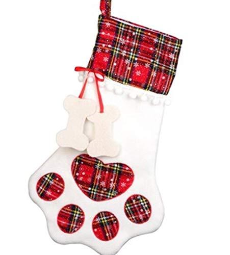 SSN Weihnachtsstrümpfe Geschenk-Beutel-Dekor for Neues Jahr 2021 Plaid Taschen Pet Paw Strumpf Socken-Weihnachtsbaum-hängende Anhänger (Farbe : Blau)