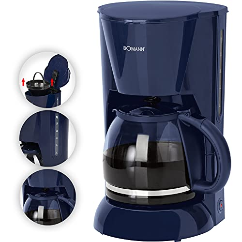Ekspres do kawy, szklany dzbanek o pojemności 1,5 l, wskaźnik poziomu wody, ekspres do kawy na 12 filiżanek (wyjmowany wkład filtrujący, płyta utrzymująca ciepło, 900 W, niebieski)