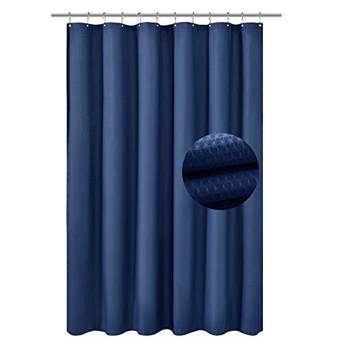 Barossa Design Soft Microfiber Fabric Shower Liner or Curtain with Embossed Dots, Hotel Quality, Machine Washable, Water Repellent, Navy Blue, 70 x 72 inches