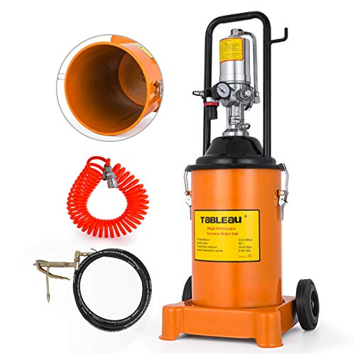 Anhon Bomba de Engrase con Aire a Presión 12 litros Engrasadora Neumática Profesional 30-40 MPa Móvil Prensa Engrase Taller Presión de La Bomba Prensa lubricación Naranja