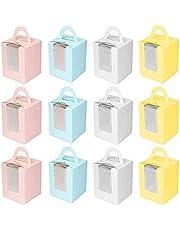 12 PCS Cajas de Cupcakes,Cajas de Regalo para Magdalenas,Caja de Pastel y portátil Caja para Cupcakes con Ventana Transparente y asa para Adecuado para Bodas,Fiestas,Ceremonias,cumpleaños