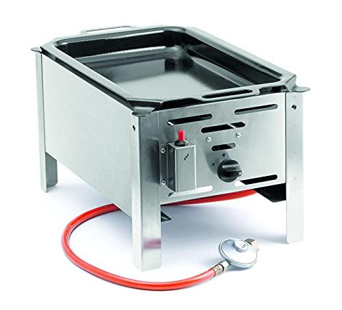 HENDI Bake-Master mini, Elektronisches Zündgerät, nur für Verwendung im Aussenbereich, für Gasflaschengas (Propan/Butan), 5kW(Hs), 340x540x(H)300mm, Bratpfanne 290x480mm (innenbereic), Edelstahl 18/0