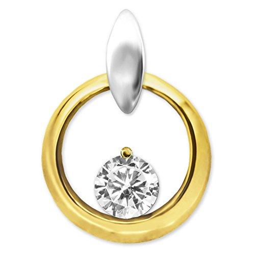 Clever Schmuck Gouden dameshanger rond met zirkonia Ø 4,5 mm op een gouden ring Ø 12 mm open, glanzend 333 goud 8 karaat