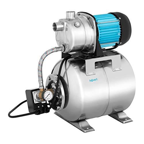 Hillvert Hauswasserwerk Hauswasserpumpe HT-ROBSON-JP1200CS (1.200 W, Fördermenge max.: 3.500 l/h, Förderhöhe max.: 46 m, Überhitzungsschutz, Vorfilter) Edelstahl