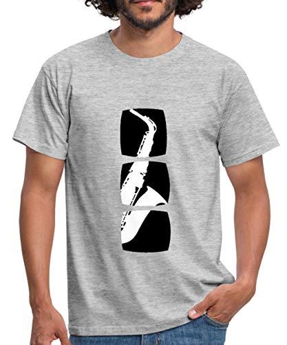 Silhouette Saxophon Männer T-Shirt, XXL, Grau meliert