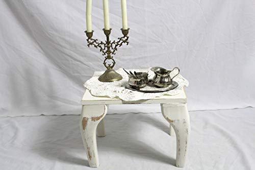 Shabby Hocker Beistelltisch im Chippendale Stil creme weiß 50er Jahre Shabby Chic Vintage Landhaus Möbel