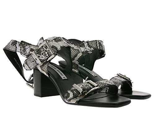 Bronx Absatz-Sandalette Elegante Damen Echtleder-Sandalen Schlangen Optik Party-Schuhe Ausgeh-Sandale Schwarz/Weiß, Größe:38