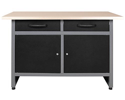 Ondis24 Werkbank Werktisch 120cm, Montagewerkbank 2 kugelgelagerte Schubladen & 2 abschließbare Türen, 32mm Holzarbeitsplatte, TÜV geprüft, Werkstatteinrichtung