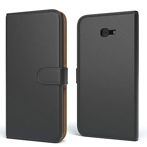 EAZY CASE Tasche kompatibel mit Samsung Galaxy J4 Plus Schutzhülle mit Standfunktion Klapphülle Bookstyle, Handytasche Handyhülle mit Magnetverschluss & Kartenfach, Kunstleder, Schwarz
