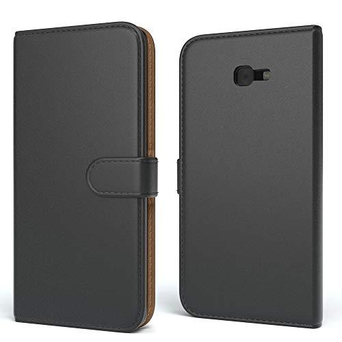 EAZY CASE Tasche für Samsung Galaxy J4 Plus Schutzhülle mit Standfunktion Klapphülle im Bookstyle, Handytasche Handyhülle Flip Cover mit Magnetverschluss & Kartenfach, Kunstleder, Schwarz