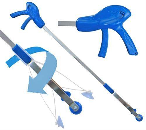 ArcMate E-Z Reacher Pro Plus, Indoor Reacher Grabber with Thumb Lock, 90 Degree Swivel, 6lb. Capacity, 4.5' Wide Fingers with Cups, Heat Resistant Food Grade Silicone Tips, Blue, 32' (32PP)