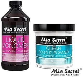 Mia Secret Acrylic Nail Powder + Liquid Monomer FREE Temporary Tattoo! (8oz monomer+4oz powder, CLEAR)