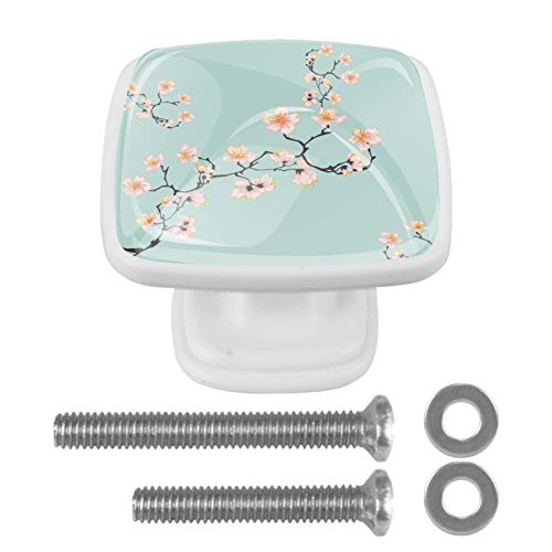 Juego de 4 pomos cuadrados blancos para gabinete para armarios, cajones, accesorios de baño, perillas decorativas de cerezo azul, flores de cerezo