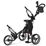 Tangkula Golf Push Pull Cart with Seat, Lightweight Folding 3 Wheels Golf Push Cart, Golf Trolley W/Storage Bag, Foot Brake, Adjustable Umbrella Holder & Seat, 4 Height Position Handle (Gray)