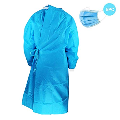 【US Stock】Surgery Disposable Gown, Protective Gown ReUSable,Xlarge Disposable Gowns For On-Woven, Fluidresistant, Dental, Hospital - 1X Isolation Suit + 5X Mask