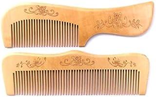 Twisha Handmade Neem Wood Broad Tooth Anti-Dandruff Comb For Men and Women (Light Brown) - Pack of 2