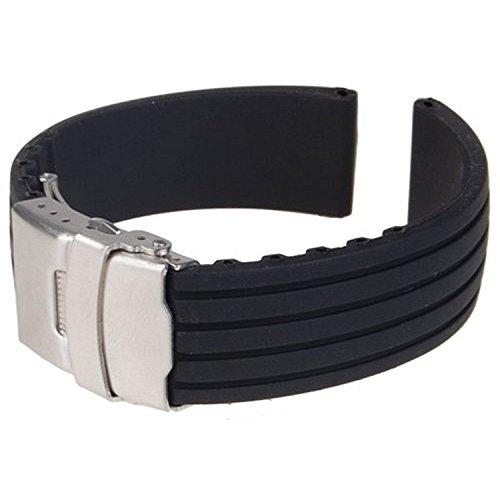 TOOGOO(R) cinturino di orologio silicone gomma chiusura pieghevole impermeabile 18 millimetri