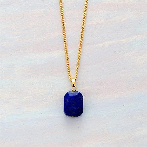 ZZLLFF Lapis Lazuli Pendant Necklace Gold Tone Chain Charm Necklace Unique Simple Jewelry Women Femme Homme Bijoux