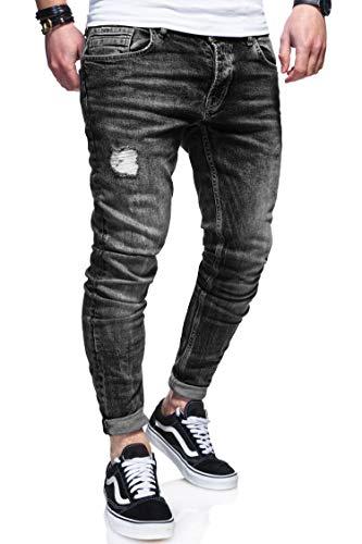 behype. Herren Destroyed Jeans-Hose 80-0100 (W33/L32, Schwarz)