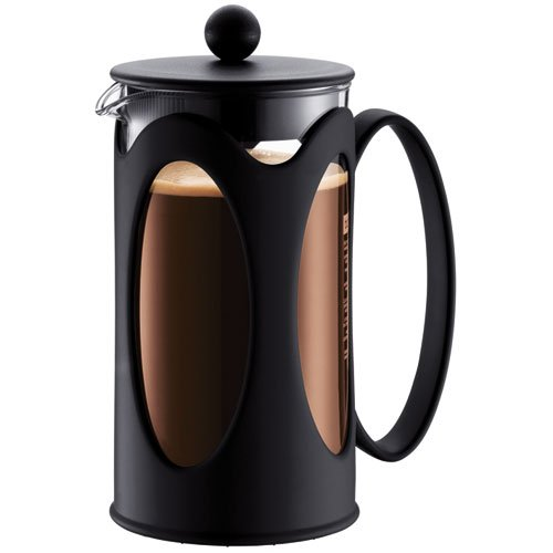 Bodum kenya Kaffeebereiter (French Press System, Permanent Edelstahl-Filter, 1,0 liters) schwarz