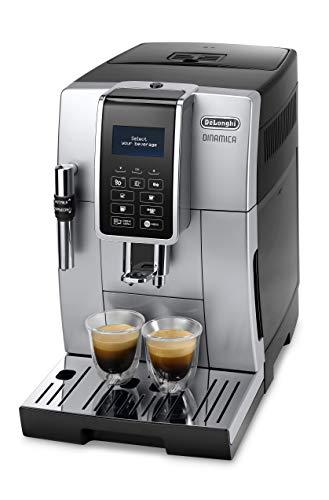 De'Longhi Dinamica ECAM 350.35.SB Kaffeevollautomat mit Profi-Milchaufschäumdüse für Cappuccino, Espresso, Kaffee und Long Coffee Direktwahltasten, Klartext Digitaldisplay, 2-Tassen-Funktion, silber