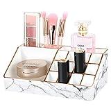 Luxspire Caja de Almacenamiento de Maquillaje, Organizador de Vitrinas con Borde de Oro Dorado Marmolado, 12 Ranuras para Lápices Labiales y 4 Compartimentos para Cosméticos, Mármol Blanco