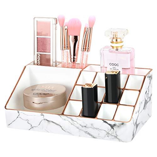 Luxspire Makeup Aufbewahrungsbox, 16 Fächer PS Goldrand Lagerregal, Dekoration Organizer Enthalten...