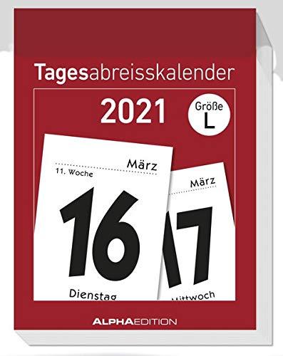 Tagesabreißkalender L 2021 - Bürokalender 6,5x10 cm - 1 Tag 1 Seite - mit Sudokus, Rezepten, Rätseln uvm. auf den Rückseiten - Alpha Edition