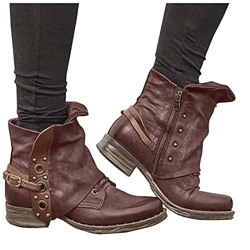 LLDG Stiefeletten damen Biker Boots Combat Stiefel Vintage Biker Boots Retro Kurzschaft westernstiefel Freizeit Chelsea Boots Vintage Knöchelstiefel Cowboy Stiefel mit Blockabsatz