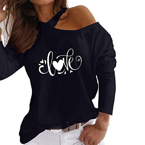 Camiseta de manga larga con hombros descubiertos, para mujer, estilo informal, con cuello halter, Negro , M