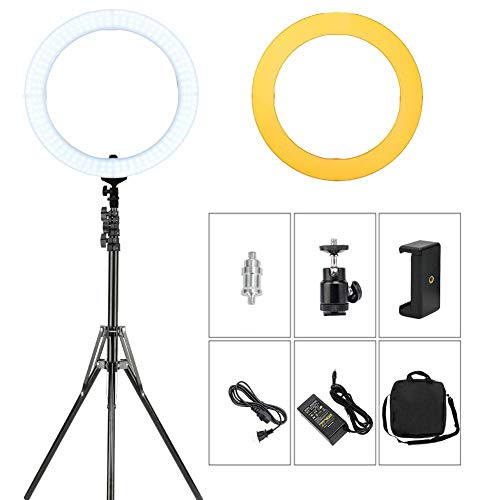 Ring licht, LED-lamp set (ringlamp) met 18 inch diameter, 80W 5500 K 448 LED dimbare camera foto video verlichting kit geschikt voor make-up, video-shooting, video's, portretfotografie