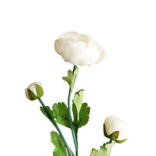 Jia HU Lot de 1 tête de fleurs artificielles Pivoine de 3 Pivoine arrangements plantes d'intérieur Décoration extérieure blanc