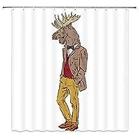 流行に敏感なデザイン漫画鹿のようなドレスアップファッション楽しい動物浴室の窓の装飾のための生地のホックが付いているポリエステル防水シャワー・カーテン60X72in