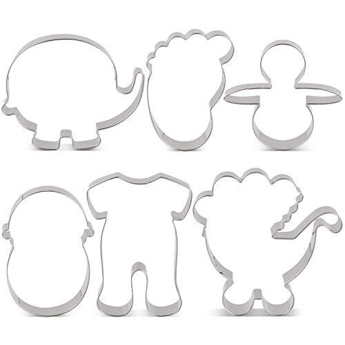 KENIAO Set Formine Biscotti Battesimo Festa Bambino Stampi Biscotti Baby Shower - 6 Pezzi - Pigiama, Passeggino, Elefante, Bambino, Orma e Pacificatore - Acciaio Inossidabile
