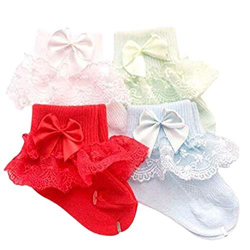4 Pares Calcetines Bebé Primavera Verano Hoja Loto Encaje Punto Cómodo Lindo Respirable para bebé niña (H)