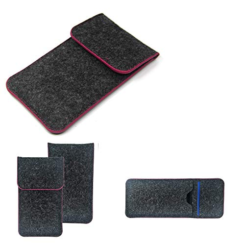 K-S-Trade Handy Schutz Hülle Kompatibel Mit Phicomm Passion 4 Schutzhülle Handyhülle Filztasche Pouch Tasche Hülle Sleeve Filzhülle Dunkelgrau Rosa Rand