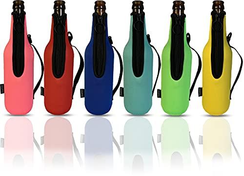 Bier Flaschenkühler 6 Stück für 500ml 0,5l Bierflaschen mit Reisverschluss aus extra dickem Neopren NEU mit GRIFF, Manschette, Neoprenkühler